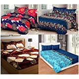 Combo Pack Of 4 Home Furnishing Floral 3-D Print Double Bedsheet With 8 Pillow Covers - Multicolor-Pack Of 4 Bedsheet(SH_4D01)