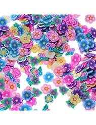 Ruiting Weiche Keramik Nagel Kunst Dekoration der Blumen 3D Scheiben DIY Nagel Kunst Dekoration 144Stk Nagel Kunst Dekoration für Frauen Fimo Box verpackt Beauty Misc