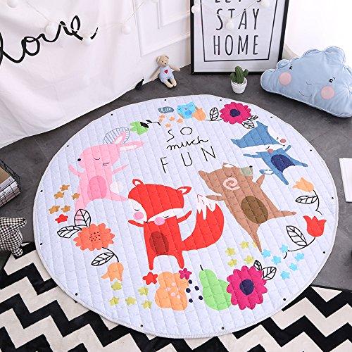 Action-figur-tragetasche (Kinder Aufräumsack Spielmatte Spielzeugteppich für kinderzimmer Speicher Tasche& Aufbewahrung,⌀150cm (Fuchs))