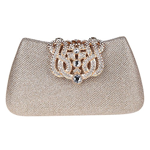 Bonjanvye Bling Crown Glitter Purse for Girls Evening Clutch Bags Gold champagne