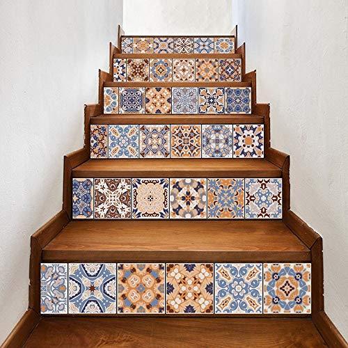Amphia - Europäische kreative 3D-Treppensticker Papier 6 Stück.DIY Schritte Aufkleber Abnehmbare Treppe Aufkleber Home Decor Keramikfliesen Muster
