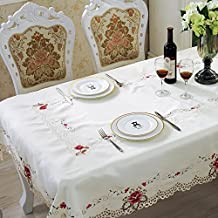 beddingleer manteles de mesa funda para mesa hogar satn rectangular mantel color blanco bordado flores hueca