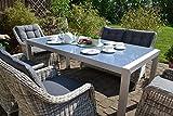 Bomey Rattan Lounge Set I Gartenmöbel Set Paris 6-Teilig I Essgarnitur mit Polstern I Sitzgruppe Grau + Tisch + Polster Grau I Dining Lounge für Terrasse + Wintergarten
