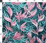 Tropisch, Dschungel, Palmenblätter, Blau, Hawaii Stoffe -