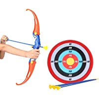 SUPER TOY Archery Bow and Arrow for Kids with 3 Arrows, Strong String Thread, Target Board