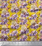 Soimoi Gelb Samt Stoff Schmetterling, lila und