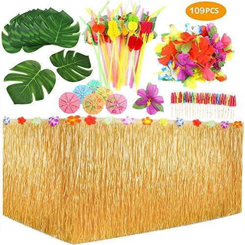 ock, 9 Ft Hibiskus Gras Rock Tropische Party Dekor Mit Hawaiianische Blüten, 109 PCS Kuchendeckel Und 3D Fruchtstrohhalme Für BBQ Tropischen Garten Tiki Party Dekoration ()