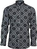 Relco Herren Schwarz & Weiß Abstrakt Paisley langärmlig Knöpfe Klassisches Hemd MOD 60s Jahre 70s Jahre - Schwarz Weiß, Medium