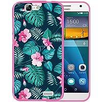 Funda Huawei Ascend G7, WoowCase [ Huawei Ascend G7 ] Funda Silicona Gel Flexible Flores Tropicales 2, Carcasa Case TPU Silicona - Rosa