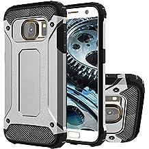 Galaxy S6 Funda, HICASER Híbrida Case [Heavy Duty] Rugged Armor Cover, Dual Layer Shock Resistant Carcasa para Samsung Galaxy S6 Plata