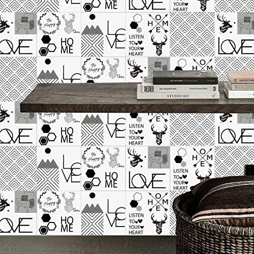 JY ART T DIY Autocollant de Tuile Motif Blanc Nordique Transfert de Carreaux Mosaïque Crystal Sticker Carrelage Film Le Salon Cuisine Salle de Bains Plus épais Que la Normale Sticker Mural, 15 * 15cm