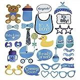 ZeWoo bebé ducha Fotomatón apoyos para la decoración de fiesta Baby boy Baby Showers Cumpleaño Set Decorativo Cartulinas para fotografías 30-Pack (Azul) (pato)
