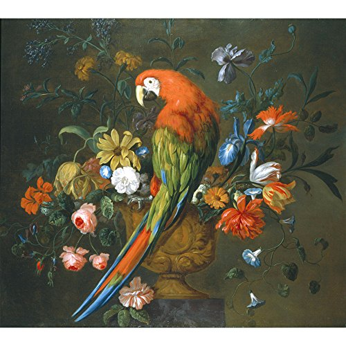 A Scarlet Macaw Perched on a Sculpted Urn, Justus van Huysum - Medici Drucken -