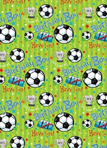 The Wrap Pack Geschenkpapier für Kinder, Fußbälle, Sterne und Trophäe, 2 Bögen und passender Anhänger