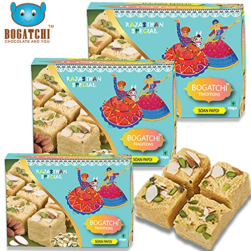 Bogatchi Soan Papdi Premium Indian Sweet for Gift, 250g (Pack of 3)
