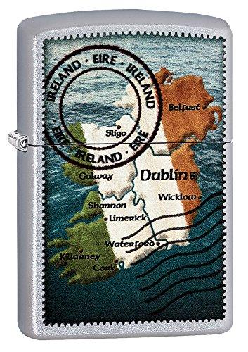 Zippo Unisex Irland Karte Winddicht Feuerzeug, Satin Chrome, One Size