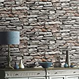 Steintapete in Grau Braun , schöne edle Tapete im Steinmauer Design , moderne 3D Optik für Wohnzimmer, Schlafzimmer oder Küche inklusive Newroom Tapezier Profi Broschüre, mit Tipps für perfekte Wände