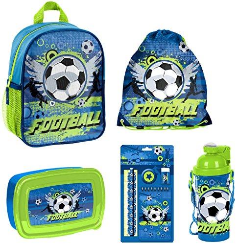 Fußball SET 8 teilig Kindergartenrucksack Kindergartentasche inkl. Trinkflasche, Brotdose, Sportbeutel und 5tlg. Schreibset / sehr leicht / geräumig / 300 Gramm / 28x22x10 cm / Kinderrucksack