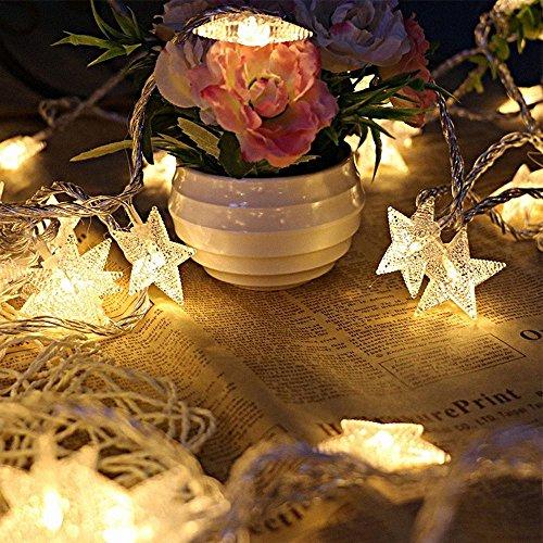 Kobwa Cadena de luz, 5m, 50LEDs, guirnalda de estrellas LED, uso interior/exterior, tira de luces, funciona con pilas, con 2modelos, para árbol de Navidad, boda, Halloween, fiesta de cumpleaños, la habitación del bebé, jardín, patio