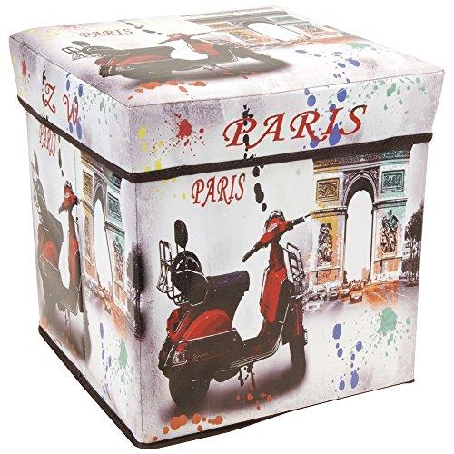 Paris Sitzhocker, PU Kunstleder, Motiv Triumphbogen, Sitzfläche Gepolstert