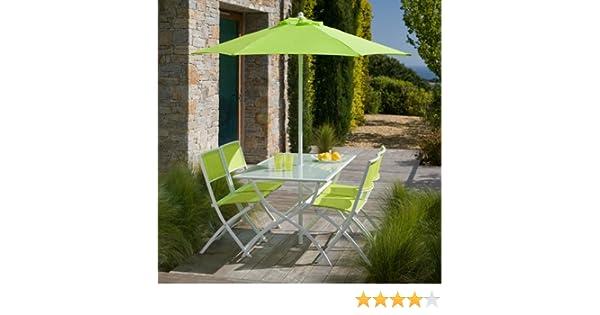 Salon de jardin vert anis avec parasol offert: Amazon.fr: Jardin