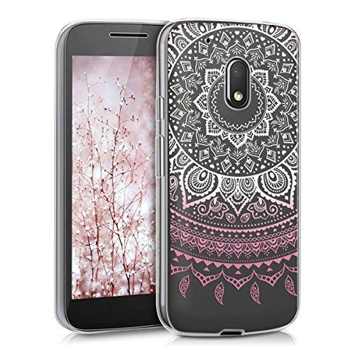kwmobile Funda para Motorola Moto G4 Play - forro de TPU silicona cover protector para móvil - Case Diseño Sol hindú rosa claro blanco transparente