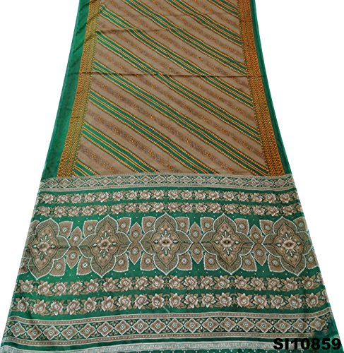 Silk-blend-vorhänge (Vintage Indian Saree Silk Blend Stoff Antique Printed Sarong Kleid Gebraucht Vorhang DrapeBrown Sari)