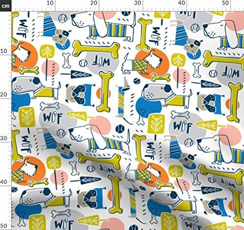 Hund, Hunde, Haustier, Haustiere, Tiere, Verspielt, Blau Stoffe - Individuell Bedruckt von Spoonflower - Design von Heatherdutton Gedruckt auf Bio Baumwollsatin