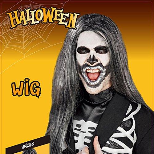 DZW Hexe Perücke, grün PET Haar grau lange glattes Haar, Spaß dress up Kopfschmuck, gelten für Halloween, Maskerade, - Halloween-pet-hai-kostümen