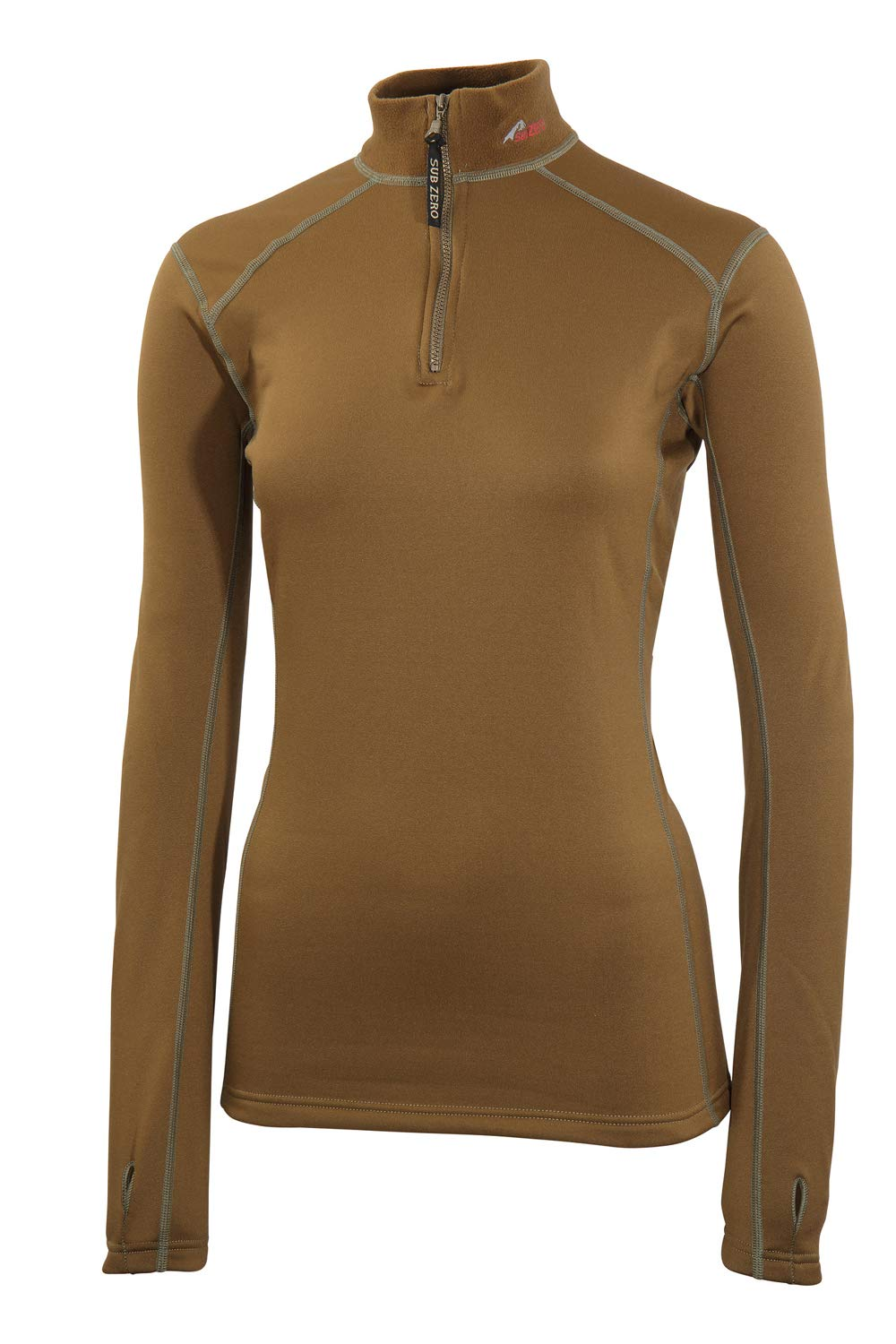 6176Fhe9F2L - SUB ZERO Womens Factor 2 Insulating Winter Mid Layer Thermal Underwear Zip Neck Turtle Long Sleeve Top