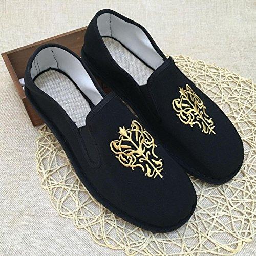 Ocasional Bordados Kung Unissex Sapatos Deslizamento Fu Artes Sapatos em 2 Tradicionais Chinesas Respirar Pano Lvyuan Marciais Retro wYPxF