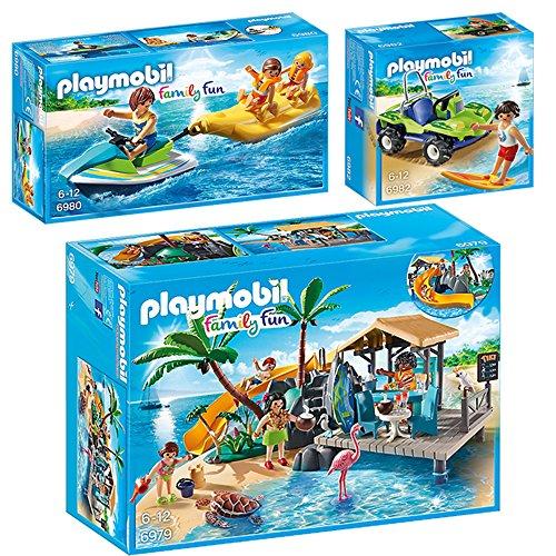Preisvergleich Produktbild PLAYMOBIL® Family Fun 3er Set 6979 6980 6982 Karibikinsel mit Strandbar + Jetski mit Bananenboot + Surfer mit Strandbuggy