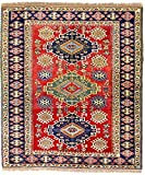 Morgenland Afghan KAZAK Teppich 217 x 193 cm Rot Handgeknüpft Wollteppich