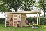Casetta con pergola in legno VERMONT 603 x 245 cm