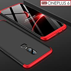 WOW Imagine 3 in 1 Double Dip Case [ Anti Slip ] Super Slim [Hard] Hybrid PC All Angle Protection Matte Hard Back Case For OnePlus 6 - Black with Red