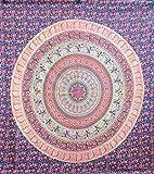 Agas Own Indische Mandala Tagesdecke, Wandtuch, Tagesdecke Mandala Druck - 100% Baumwolle, 210x240 cm, Bettüberwurf, Sofa Überwurf (Muster 07)