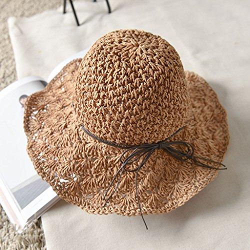 chapeau de soleil Beach Cap Pastoral Summer Foldable Woman Bonnet de soleil respirant ( Couleur : Light Khaki ) Chameau
