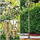 Kandelaber Gartenlampe NATAL Farbe schwarz gold 3 x E27 60 Watt Laterne mit klarem Glas