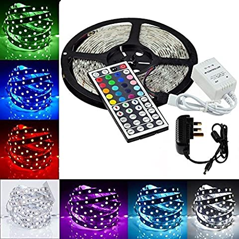 LED Strip Light MINGER 16.4ft(5m)RGB SMD 5050 LED Rope Lighting Color Changing Full Kit with 44-keys IR Remote Controller & 2A Power Supply LED Lighting Strips for Home Lighting Kitchen Christmas Indoor