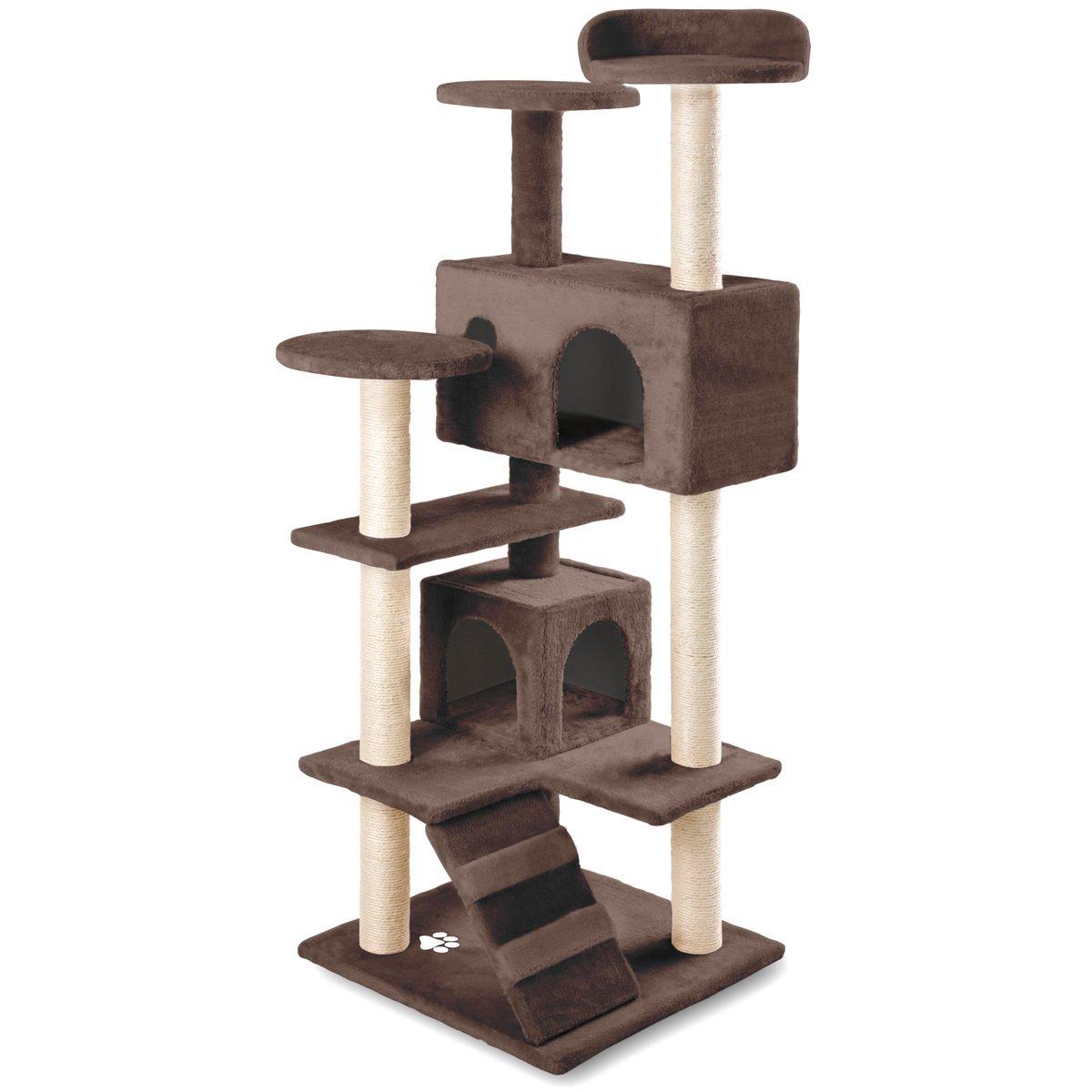 RASCAT- Rascador Gato centro de juegos y descanso Árbol Gatos de 130cm de Altura color Negro con postes rascadores Sisal Natural