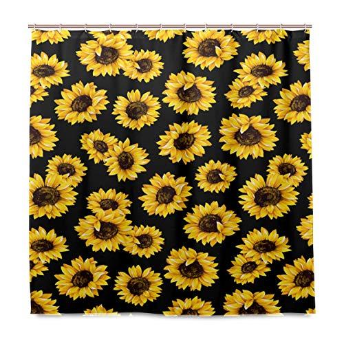Wamika Sunflower Floral Badezimmer Dusche Vorhang Liner, Blume auf schwarz Design Haltbarer Stoff Schimmelresistent Wasserdicht Bad Badewanne Vorhänge mit 12Haken 183,0cm x183,0cm (Schwarz Stoff Dusche Vorhang Liner)