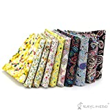 RayLineDo 5 pcs Jaune et 5 pcs Paisley tissu en coton matelassé DIY Petit Fleur pour...