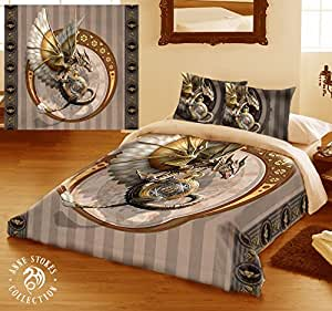 STEAMPUNK DRAGON King Size Bed Duvet Cover & Pillowcase Set, Artwork By ANNE STOKES by ANNE STOKES
