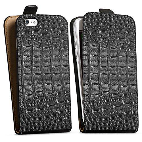 Apple iPhone X Silikon Hülle Case Schutzhülle Krokodilhaut Look Schwarz Krokodil Muster Downflip Tasche schwarz