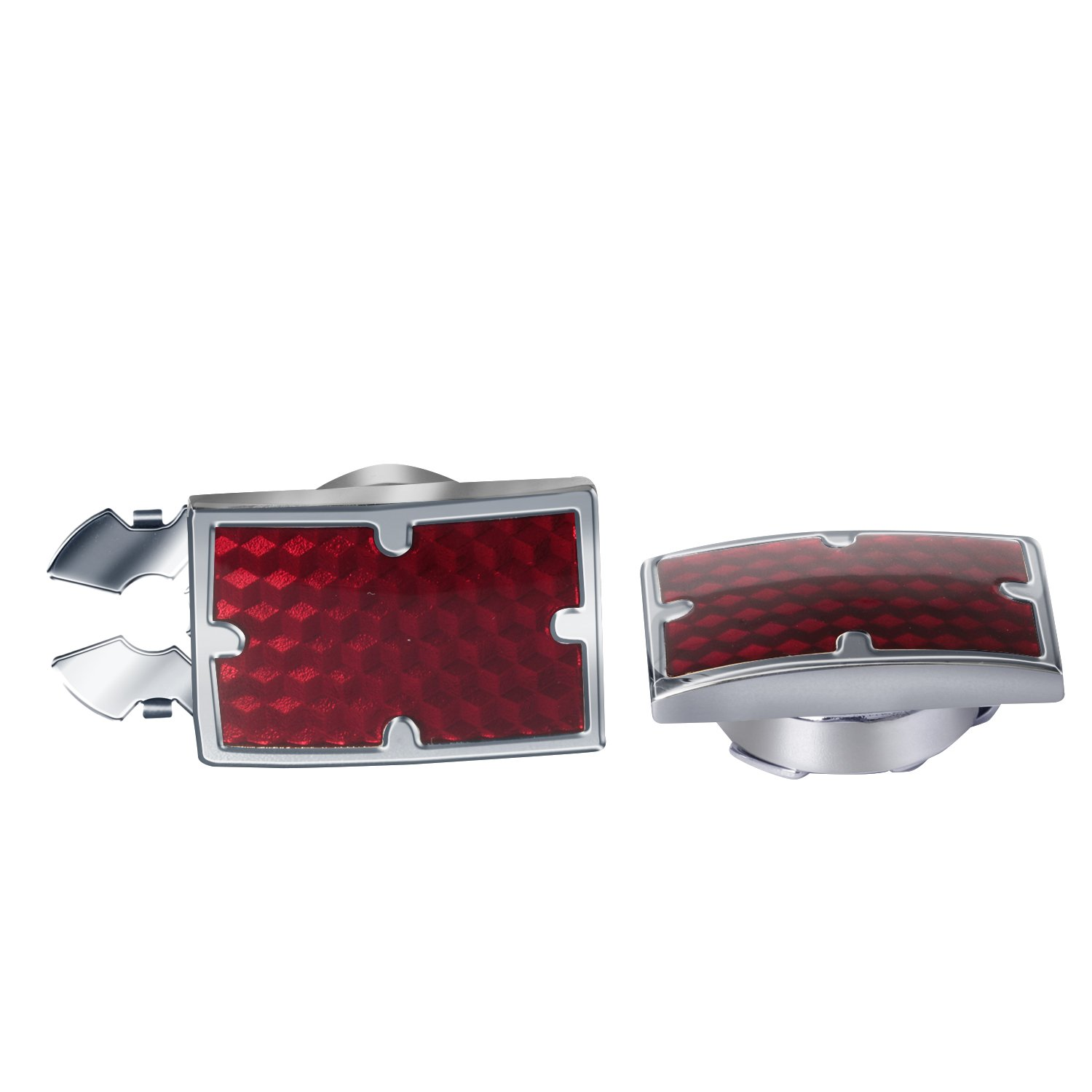 DIGABI Red Glazing Button Covers 10mm Square Substitute to Traditional Cuff Links for Men