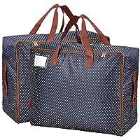 HAOGEGE 2PCS Sacs pour Vêtements Sac de Voyage Étanche Épais Surdimensionnée Organiseur Sac de Rangement Bleu pour…