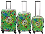 Packenger One World by Della 3er-Koffer, Trolley, Hartschale set in Hellgrün, Größe M, L und XL