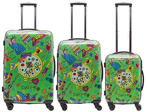 Packenger One World by Della, ens. de 3 valises à roulettes, coque dure, vert clair, tailles M, L et XL