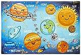 Kinder Teppich Kinderteppich - weicher Teppich - verschiedene Motive - Sonnensystem (120 x 170 cm, solar system)