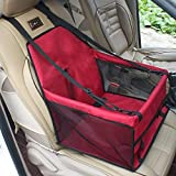 GENORTH Dog Car Seat Upgrade Deluxe Portable Pet Dog Booster Car Seat with Clip-On Safety Leash and Dog Blanket, Mascotas pequeñas(Rojo)